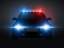 Police Car Light Siren In Night Front View. Patrol Cop Emergency Police Car Silhouette With Flasher