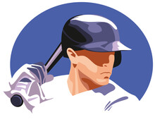 Baseball Player On A Blue Oval Background.