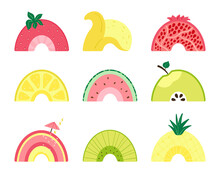 Set With A Cute Fruit Rainbow. Illustration With Slices Of Watermelon, Apple, Pineapple, Pomegranate, Lemon, Cherry, Kiwi, Banana, Strawberry On A White Background. Vector