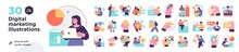 Digital Marketing Illustrations. Mega Set. Collection Of Scenes With Men And Women Taking Part In Business Activities. Trendy Vector Style