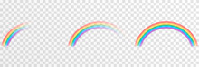 Vector Rainbow On Isolated Transparent Background. Effect After Rain. Rainbow PNG.