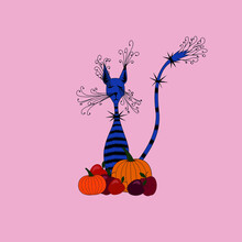 Fantasy Image Of A Fairy Tabby Cat Near With Pumpkins And Apples. Vector Illustration For Halloween.