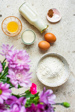 Ingredients To Make A French Crepe With Flowers