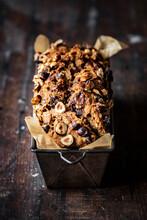 Hazelnut Banana Bread On A Wooden Table