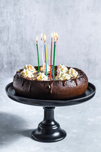 Chocolate Birthday Cake With Cream Cheese And Sprinkles