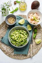 Zucchini Spaghetti With Avocado Pesto And Shripms