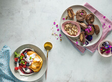 Sweet Oepsies With Berry Coulis, And  Choc Nut Butter Cups