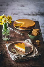 Baked Lemon Cheesecake Served In A Rustic Kitchen