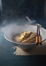 Hot Japanese Noodles Ramen With Broth Dash Or Dashi And Sesame.