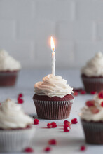 Red Velvet Cupcakes On A White Work Surface
