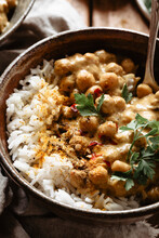 Close Up Of Vegan Chickpea Curry