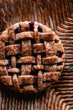 Close Up Of Berry Pie With Texture On The Crust