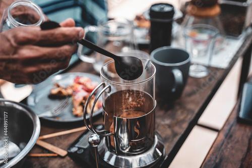 Slika na platnu Coffee Preparation and Tasting