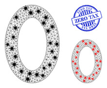 Mesh Polygonal Digit Zero Icons Illustration Designed Using Lockdown Style, And Distress Blue Round Zero Tax Badge. Carcass Model Is Created From Digit Zero Icon With Black And Red Infectious Items.