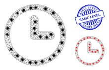 Mesh Polygonal Clock Symbols Illustration In Lockdown Style, And Rubber Blue Round Basic Level Stamp Seal. Carcass Model Is Created From Clock Icon With Black And Red Infectious Elements.