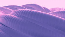 Blue Purple Abstract Background Made Of Corrugated Organic Pipes. 3d Illustration