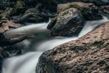 Waterfalls And River In Valle De Bravo, With Silk Effect In The Water By Long Exposure, Amazing Jungle Landscape.