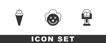Set Ice Cream In Waffle Cone, Clown Head And Attraction Carousel Icon. Vector