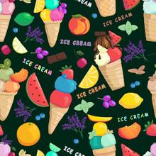 Fruits Ice Cream Seamless Pattern.
