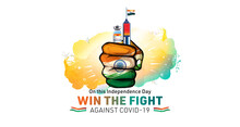 India Independence Day And Vaccination Concept With Tricolour Flag, Vaccine Injection And Typography Win The Fight Against Corona Virus Covid 19 Pandemic