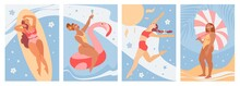 Set Of A Summer Background. Summer Girl Swimming, Relaxing At The Beach, Rests Under Sun Umbrella. Vector Cards, Poster Design Abstract Illustration.