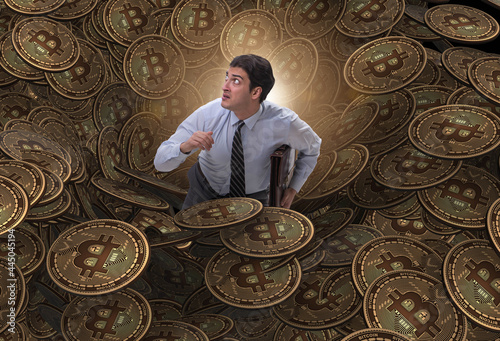 Wallpaper Mural Businessman falling into sinkhole of cryptocurrency bitcoin