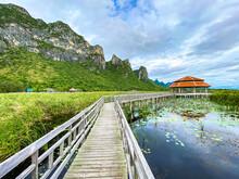 Sam Roi Yot Freshwater Marsh, Walk Over The Marsh, Bueng Bua Wood Boardwalk In Sam Roi Yot National Park In Prachuap Khiri Khan, Thailand