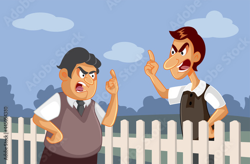 Obraz na plátne Angry Neighbors Fighting over a Fence Vector Illustration
