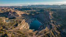 Old Open Pit Uranium Mine. Aerial View.