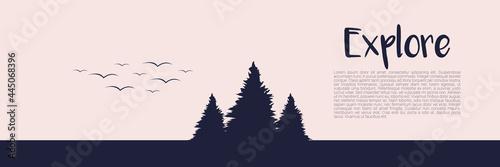 web banner template with pine tree vector illustration for web banner, banner ba Fototapet