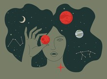 Female Character Holding Planets Surrounded By Stars Celestial Bodies Lady Portrait Outer Space Exploration Education Astronomy Astrology Cosmos Universe Flat Style