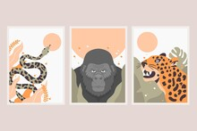 Flat Wild Animals Covers Collection