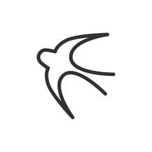 Outline Design Of Bird Icon.