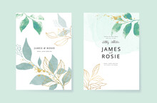Minimal Green Tropical Wedding Invitation, Floral Invite Thank You, Rsvp Modern Card Design In Blue Geometric Shape With Golden Line Decorative Vector Elegant Rustic Template