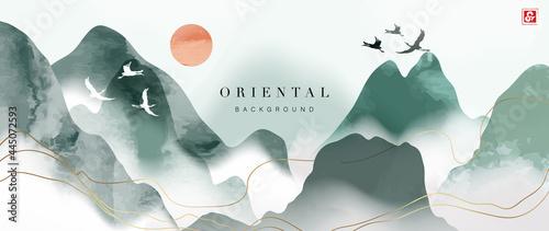 Fotografia Mountain and golden line arts background vector