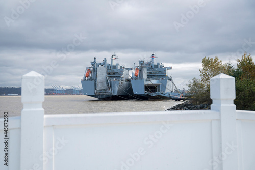 Canvas View of a two battleships anchored near the shore at Tacoma, Utah