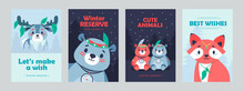 Stylish Posters With Cute Mammals Vivid Brochures With Fox Bear Deer Hotel