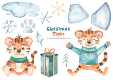 Watercolor Set With Christmas Tiger, Symbol Of The Year 2022, Snowflakes, Gift, New Year