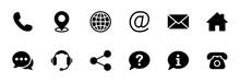 Contact Us Icon Set. Web Icon Set. Website Set Icon Vector