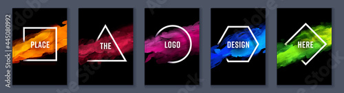 Watercolor black background over geometric frame vector design, logo and sale banner template set