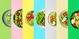 Plates with different healthy salads on color background