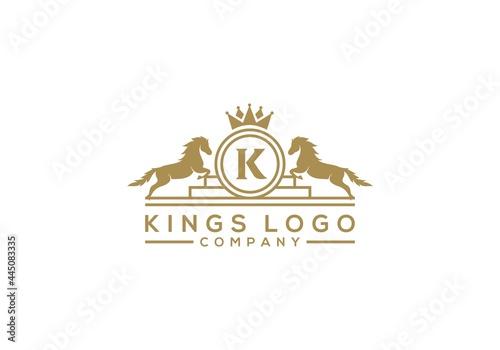 Fototapeta Luxury golden royal horse logo design inspiration