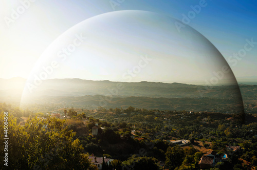 Fotografia Green hills and dome protection with landscape view