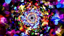 Colorful Stained Glass Mosaic Pattern Tunnel Background