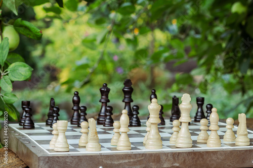 Fotografering Chess board with chess pieces on desk with branches of apple tree