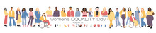 Women's Equality Day. Women Of Different Ethnicities Stand Side By Side Together. Flat Vector Illustration.