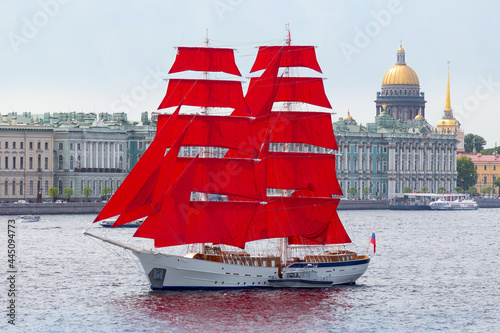 Vászonkép Sailboat with scarlet sails on the Neva in St
