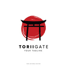 Japanese Traditional Gate Logo Design. Torii Gate Logo Vector. Japan Logo Design