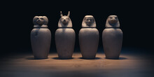 Canopic Jars From Egypt,. Used For Mummification And Storing Organs. 3D Rendering, Illustration.