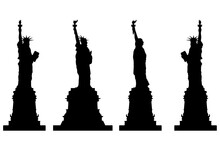 Set With Silhouettes Of The Statue Of Liberty In Different Positions Isolated On A White Background. Vector Illustration